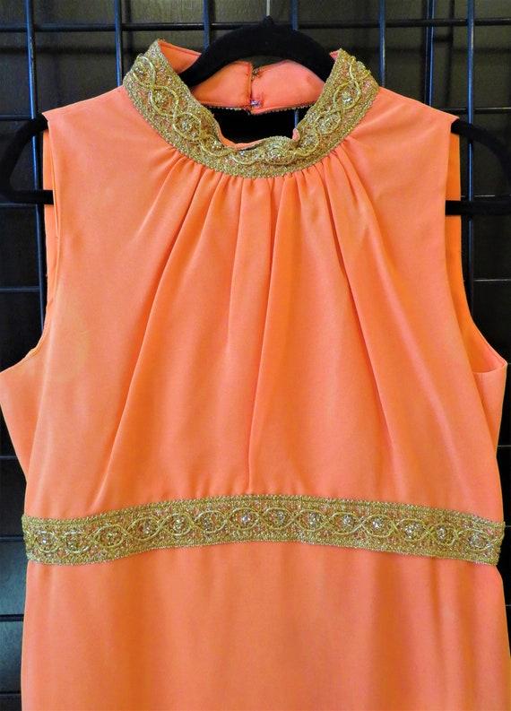 Vintage 1960s Orange Matching Pant Top Set Size 18 - image 3