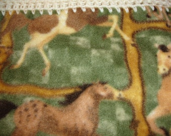 Horse Theme Fleece Throw