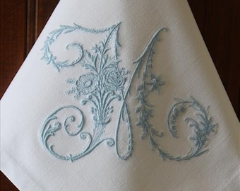 Monogrammed Napkins Monogram Napkin Personalized Embroidered Monogram Napkin Dinner Fabric Cloth Napkin Special Gift