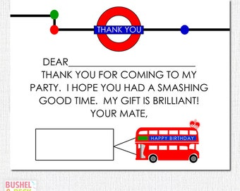 PRINTABLE Brit Bus Thank Yous - #DIY #Printable #Digital #File (instant download)