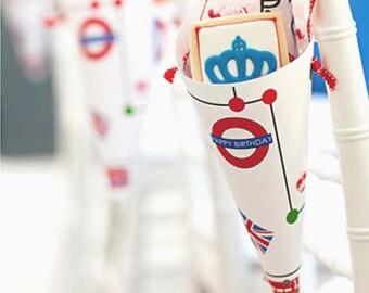 PRINTABLE Brit Bus Party Cones - #DIY #Instant #Digital #File #Printable