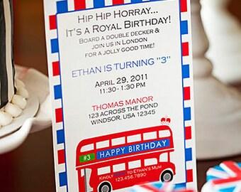 Double-Decker Bus Invitations - #London / #England Party Invites - PRINT & SHIP or DIGITAL