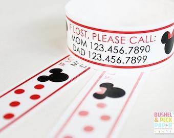 Kids ID Bands - Custom Vinyl Polka Dot Mouse ID Bracelets - Personalized Travel Bands - Kids  Safety Parenting (Set of 12)