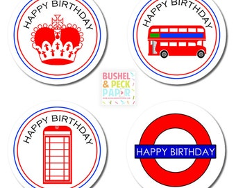 """PRINTABLE British Party 2"""" Rounds - #DIY #Printable Instant #Download (for print at home: stickers, gift tags or cupcake toppers)"""