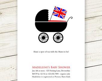 British Pram Baby Shower Invites - #print & Ship OR #Digital #Printable #DIY