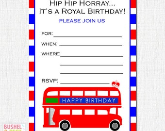 PRINTABLE Brit Bus Invites - #DIY #Digital #File (instant download)