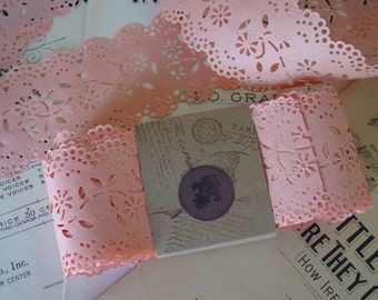 PEACH vintage paper lace, so neat for card making, 5 yards