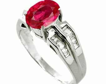 ruby  diamond ring  18k white gold