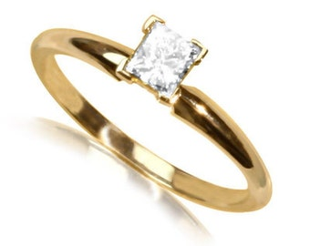 14K  Yellow Gold Ring Diamond Remember a diamond is forever
