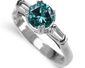 blue diamond ring  18k white gold