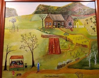 The Farm Stand  - folk art painting