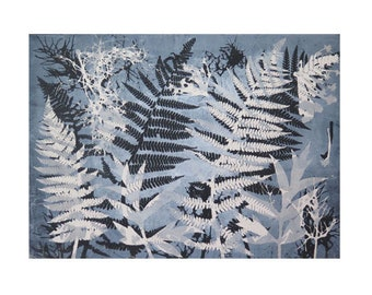 Large fine art Original botanical mono print by Stef Mitchell. Woodland ferns. Dusky blue. Printed with love from nature