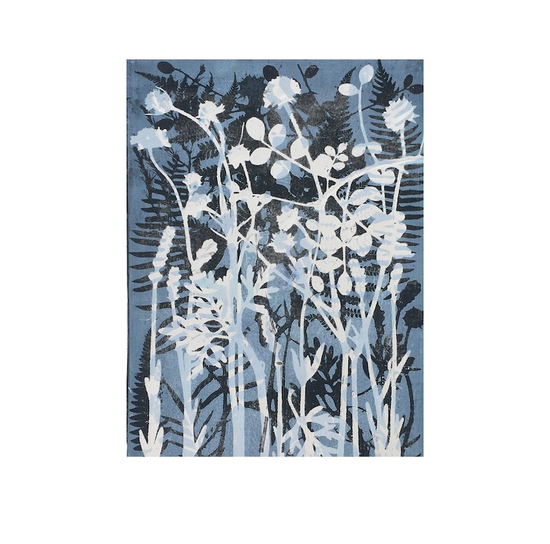 Blue wall art Original botanical nature art print by Stef Mitchell Summer flowers from a country garden Contemporary modern nature decor