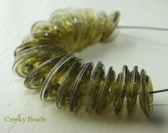 "Handmade Lampwork Disc beads ""Olive Discs""! Creeky Beads SRA"