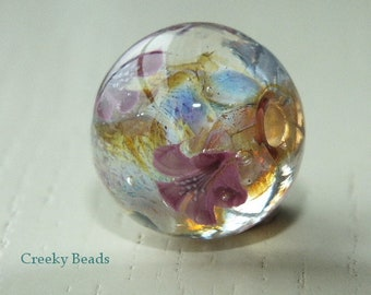Handmade Lampwork bead - Pink & white flowers - Creeky Beads SRA