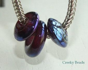 "Handmade Lampwork Large Hole beads ""Purple"" Creeky Beads SRA"