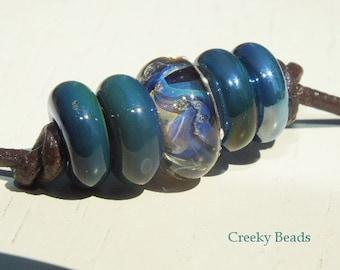 "Handmade Large Hole Lampwork beads ""Blue/Lilac"" Creeky Beads SRA"