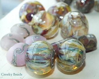 "Handmade Lampwork beads ""Pink Assortment"" Creeky Beads SRA"
