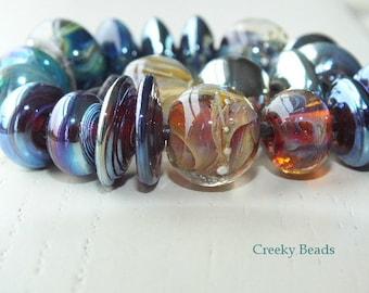 "Handmade Lampwork Orphan Beads ""Silver Mix"" Creeky Beads SRA"