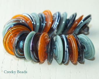 "Handmade Lampwork Disc beads ""Blue/Orange tones""! Creeky Beads SRA"