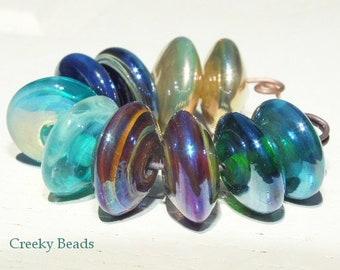 "Handmade Lampwork Saucer beads ""Creeky Beads"" SRA"