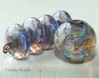 "Handmade Lampwork beads ""Lilac"" Creeky Beads SRA"