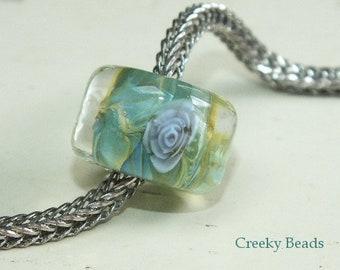 Handmade Lampwork bead - Large Hole bead - Green with Rose - Creeky Beads SRA