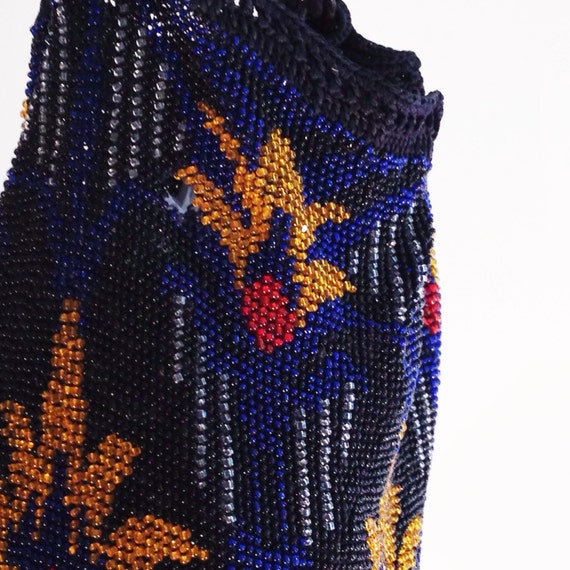 Great Gatsby accessories / blue beaded bag / vint… - image 2