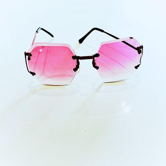 mod red sunglasses / metal frame sunglasses / 60s… - image 1