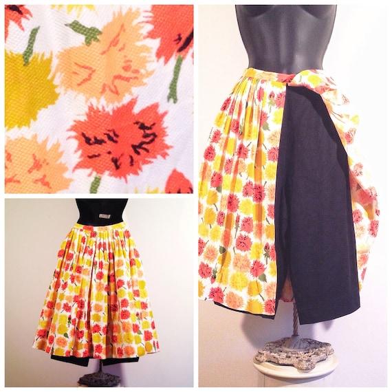 60s floral short skirt combo / vintage flower prin
