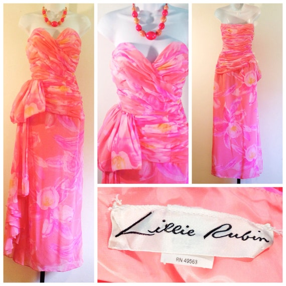 vintage floral gown / strapless prom dress / lilli