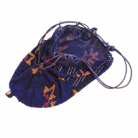 Great Gatsby accessories / blue beaded bag / vint… - image 4