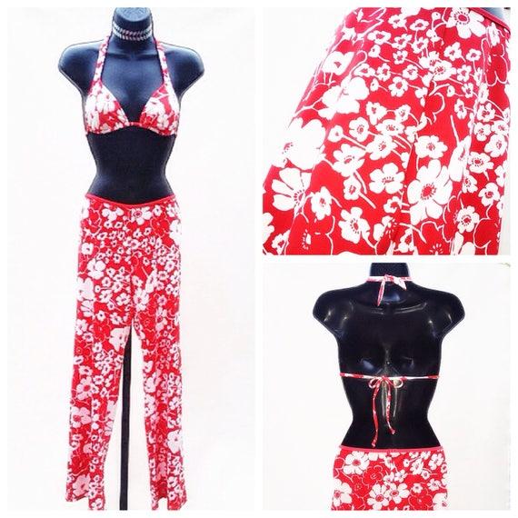red bikini set / print bikini top pant / two piece