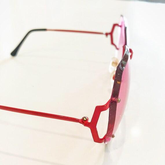 mod red sunglasses / metal frame sunglasses / 60s… - image 2
