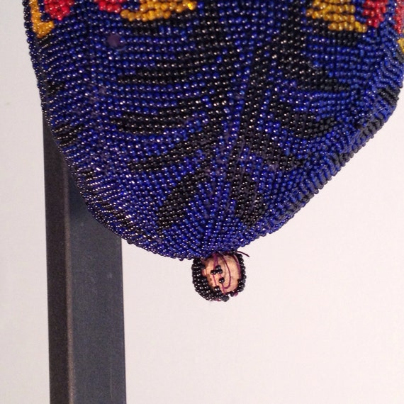 Great Gatsby accessories / blue beaded bag / vint… - image 5