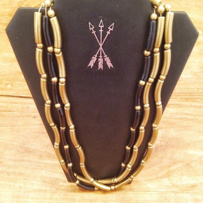 vintage beaded necklace  goldblack necklace  noodle necklace