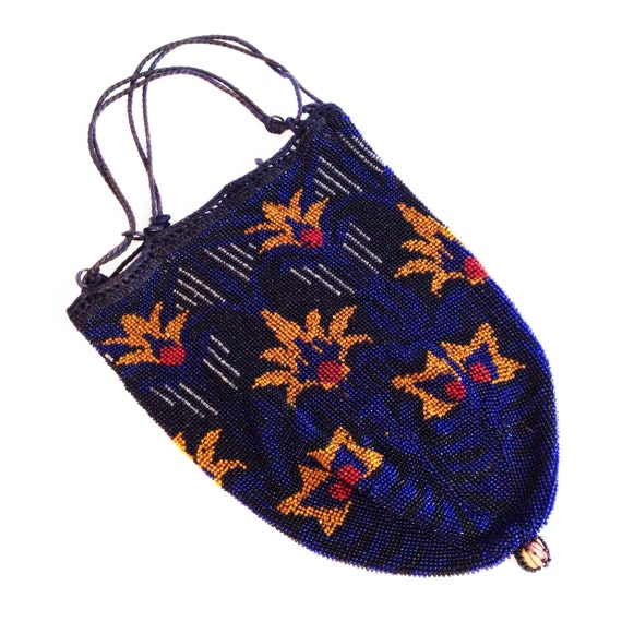 Great Gatsby accessories / blue beaded bag / vinta