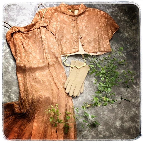 40s dusty rose lace dress, dress and cropped boler