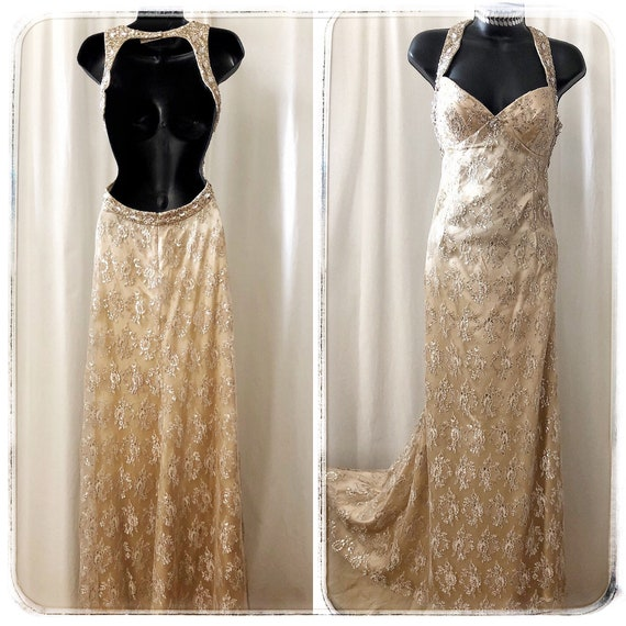 lace halter wedding gown / vintage beaded gown / l