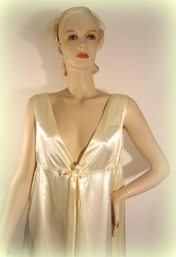 vintage 60s satin gown, empire waist wedding gown,