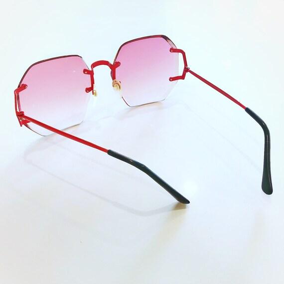 mod red sunglasses / metal frame sunglasses / 60s… - image 5