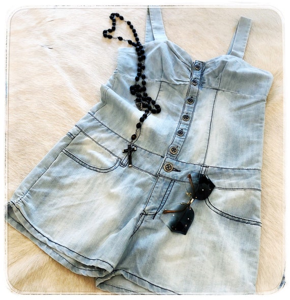 vintage denim romper / button up romper / blue jea