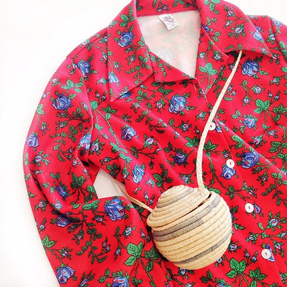 tattoo rose red / fall floral top / vintage folklo