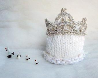 Princess Baby Hats Knit Newborn Hat Knit girl hat Photographer hat White baby hat Pink Girl hat Newborn Princess hat Pink for Diadem hat