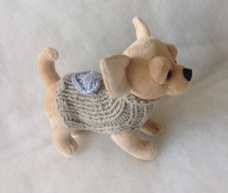 Eco Cashmere 100/% Puppy coat beige with blue heart Eco Cashmere chihuahua sweater Precious chihuahua sweater cashmere made in Italy Handmade