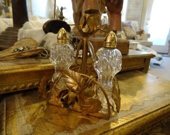 Vintage Ornate Gold Gilt Ornate Metal Italian Tole Salt and Pepper Holder