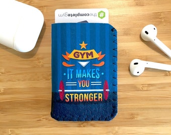 Gym Card Holder, Motivational Quote, Gym Pass Case, Keep Fit Gift, Gym It Makes You Stronger, Exercise Quote, Exercise Gift