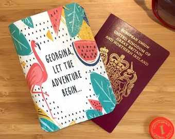 Personalised Passport Holder, Passport Cover, Passport Wallet, Passport Case, Motivational Quote, Travel Gift,Travel Quote,Tropical Flamingo