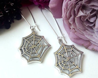 Silver Webs // Silver Spiderweb Earrings on Long Silver Plated Wires, Gothic Goth Halloween Spooky Pinup Witch Art Deco Boheme Retro Horror