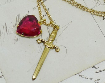Heart & Dagger Charm Necklace w/ Vintage 1950s Ruby Heart, Gold Dagger, Romantic Goth Sword Witch Gothic Occult Bohemian Boheme Gypsy Tarot